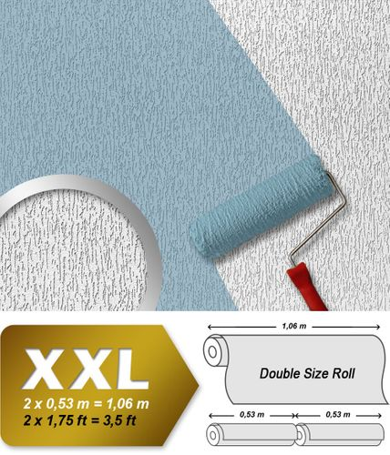 Wallcovering wall wallpaper paintable EDEM 362-70 plaster textured decor non-woven white XXL size  – Bild 1