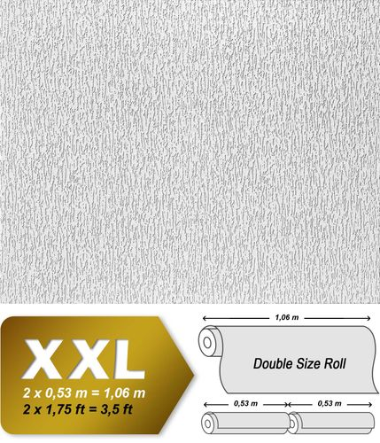 Wallcovering wall wallpaper paintable EDEM 362-70 plaster textured decor non-woven white XXL size  – Bild 2