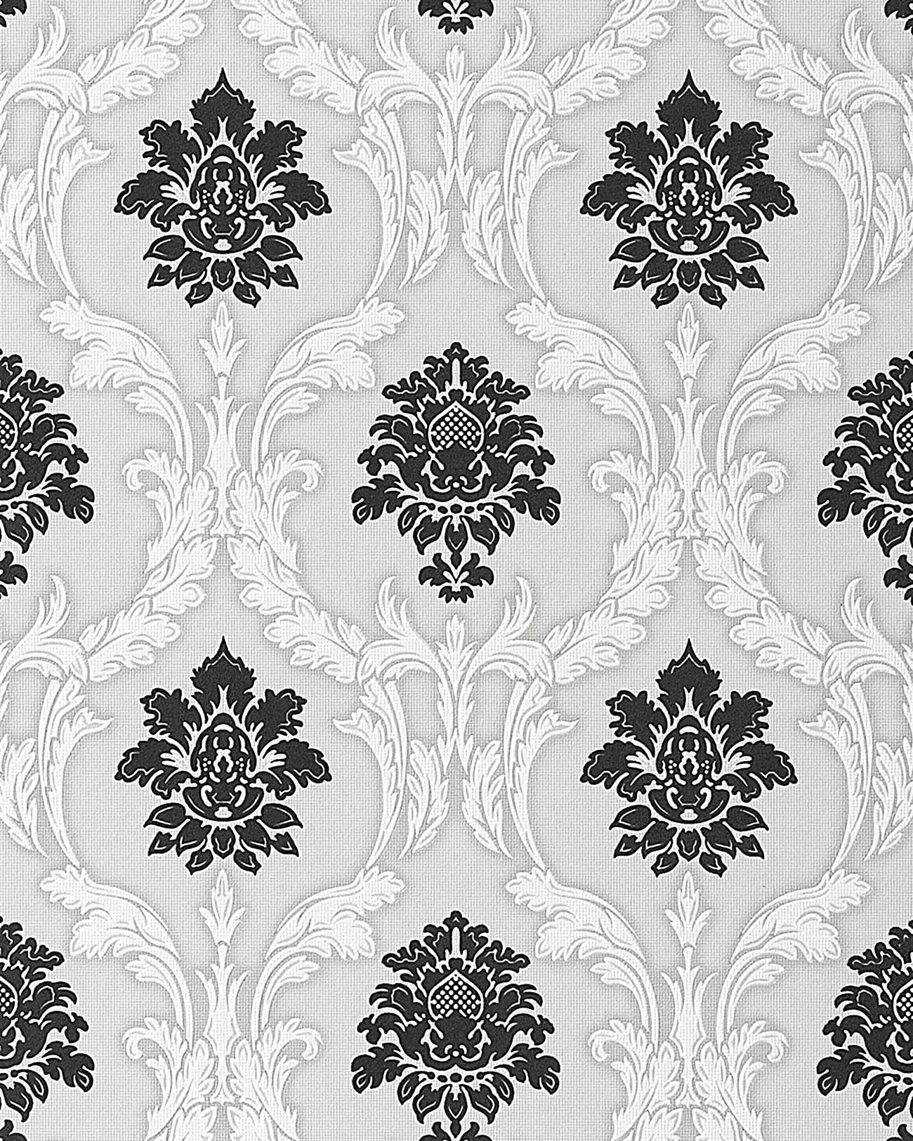 Wallpapers Wallcovering Wall Textured Baroque EDEM Damask - Wallpaper for walls black and white