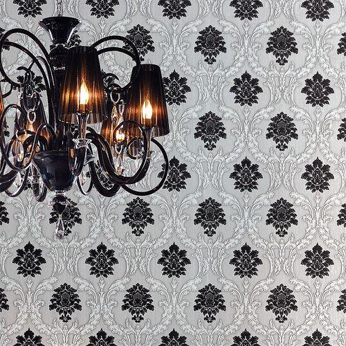 Papier peint néo-baroque EDEM 052-20 ornement damas flockage noir blanc gris clair | 5.33 m2 – Bild 3