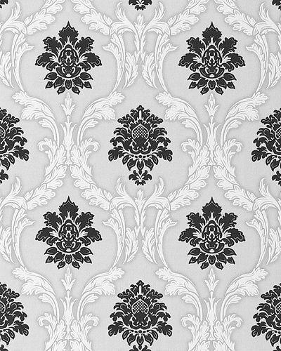 Papier peint néo-baroque EDEM 052-20 ornement damas flockage noir blanc gris clair | 5.33 m2 – Bild 1