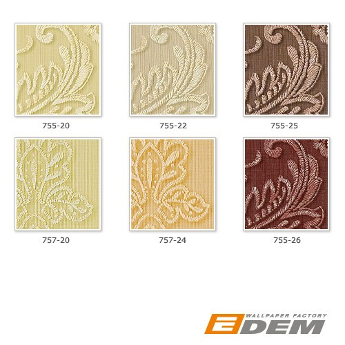 Stripe baroque wall covering EDEM 755-25 wallpaper wall deluxe heavy-weight vinyl damask nut-brown platin  – Bild 3