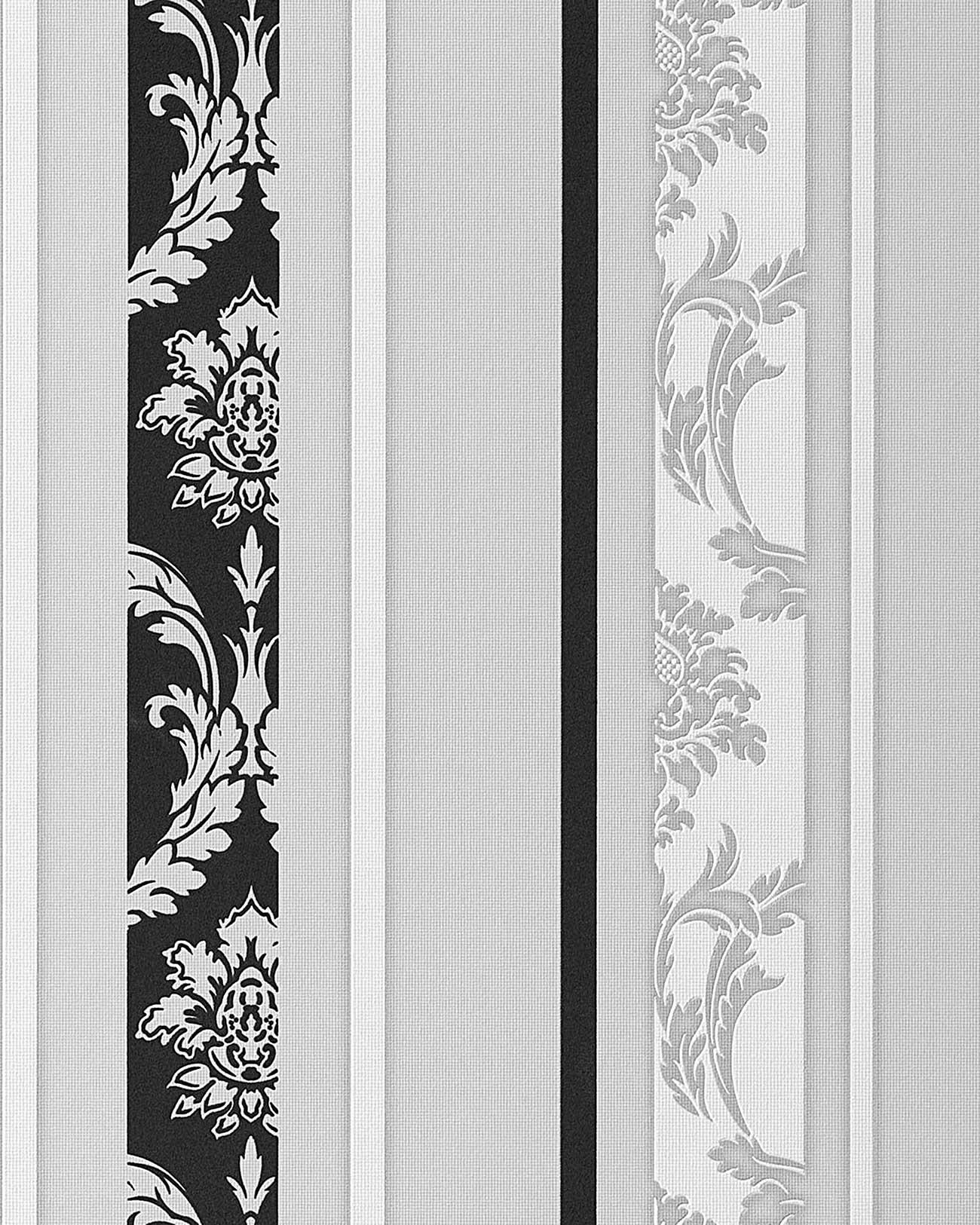 papier peint n o baroque edem 053 20 design ornement ray flockage noir blanc gris clair m2. Black Bedroom Furniture Sets. Home Design Ideas