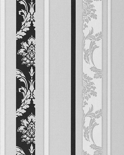 Papel pintado diseño barroco damasco EDEM 053-20 rayas ornamentos relieve flock negro blanco gris claro – Imagen 1