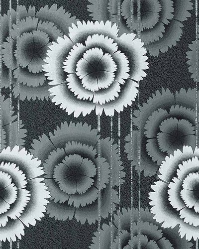 Wallpaper floral retro 70s style flowers EDEM 056-20 wall covering vinyl black white anthracite  – Bild 1