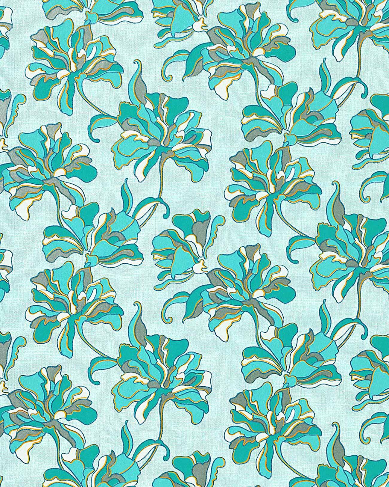 EDEM 072 22 wallpaper floral design flowers turquoise blue 533