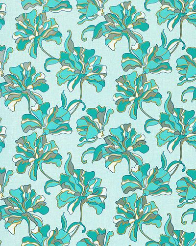 Flowers textured wall covering floral EDEM 072-22 wallpaper vinyl turquoise blue white yellow  – Bild 1