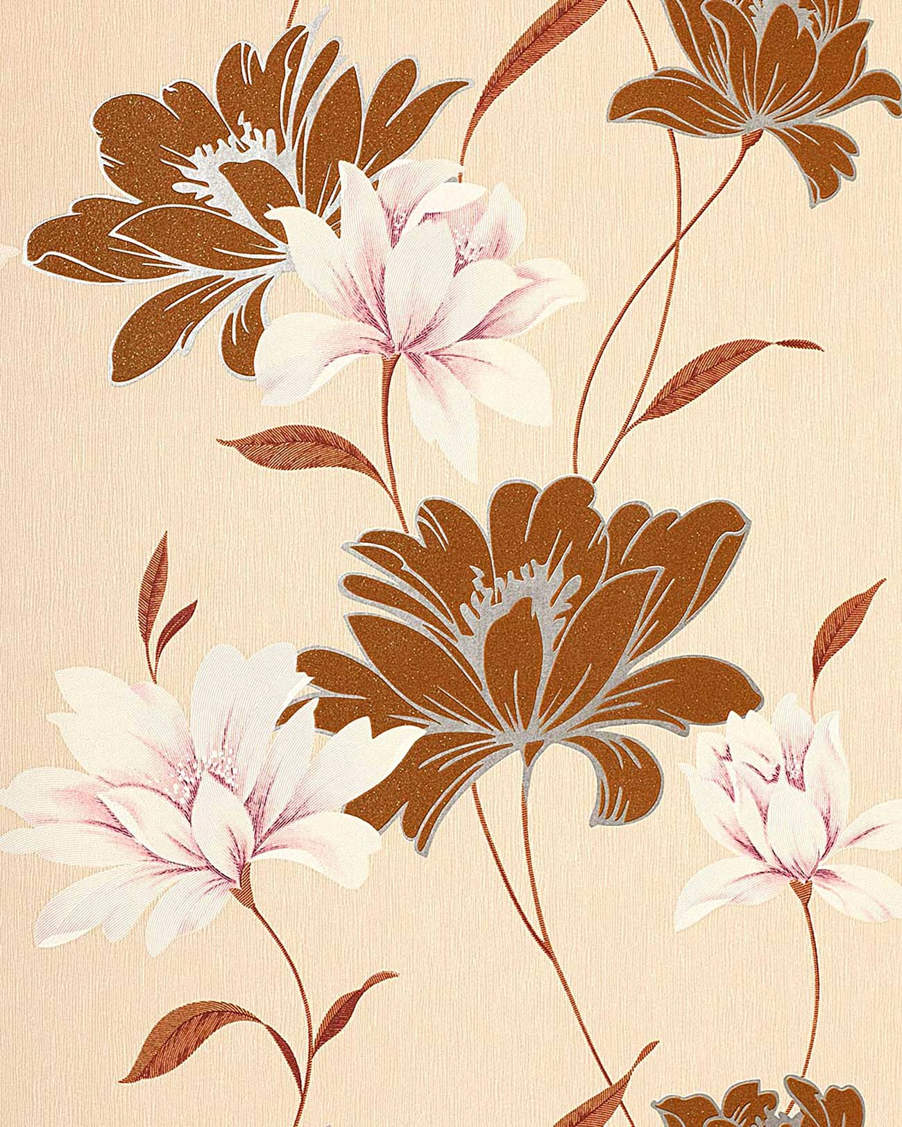 Wall Wallpaper Floral Vinyl Covering EDEM 168 31 Flowers Textured Nut Brown Cream White Rose