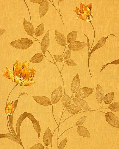 Papel pintado texturado diseño floral EDEM 769-32 con aspecto textil amarillo ocre amarillo dorado aceituna glitter – Imagen 1