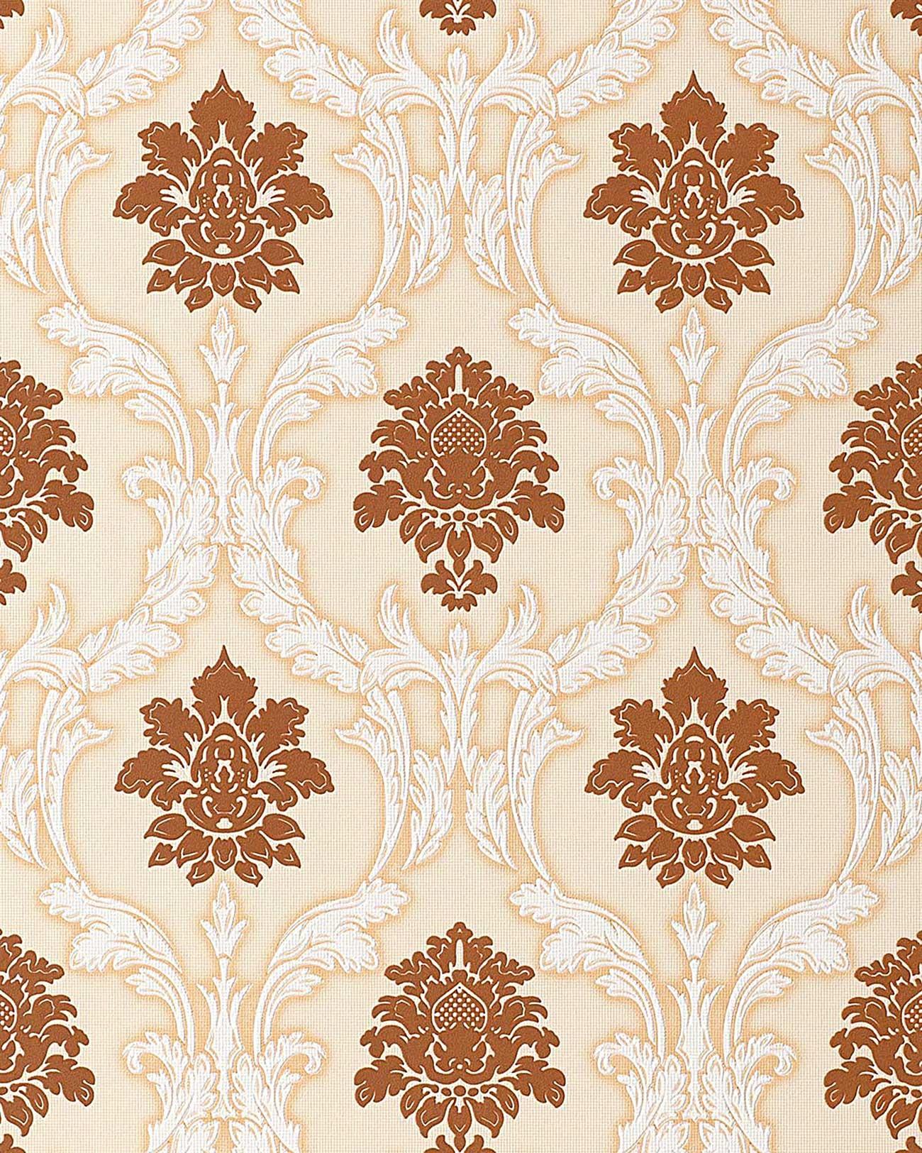 Papel pintado dise o barroco damasco edem 052 21 ornamentos relieve flock marr n gamuza blanco - Papel pintado barroco ...