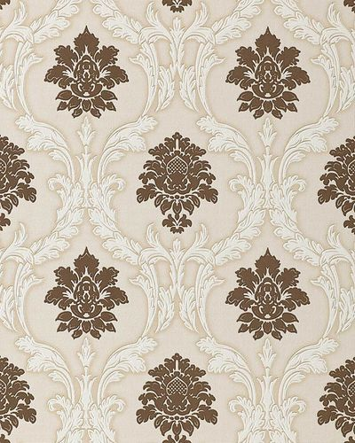 Papier peint néo-baroque EDEM 052-23 ornement damas flockage brun marron blanc beige clair | 5.33 m2 – Bild 1