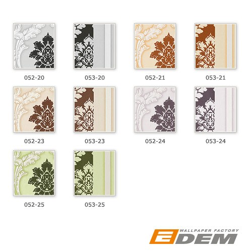 Papel pintado diseño barroco damasco EDEM 053-23 rayas ornamentos relieve flock marrón chocolate beige blanco – Imagen 2