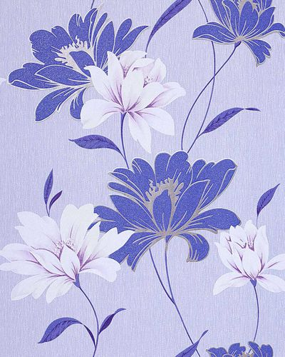Wall wallpaper floral vinyl wall covering EDEM 168-32 flowers texured cobalt blue white blue silver  – Bild 1