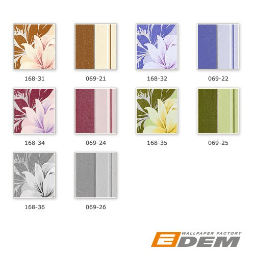 Wall wallpaper floral vinyl wall covering EDEM 168-34 flowers textured violet-red rose white lilac  – Bild 4