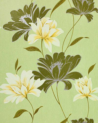 Wall wallpaper floral vinyl wall covering EDEM 168-35 flowers textured moss green white yellow silver  – Bild 1