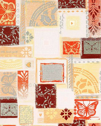 Scrapbooking style wallpaper wall wallcovering EDEM 071-21 butterfly funky collage textured white orange brown  – Bild 1