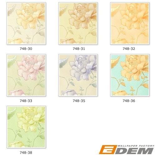 Embossed heavy-weight vinyl luxury wallcovering floral EDEM 748-31 flowers wallpaper wall ivory beige rose platin  – Bild 6