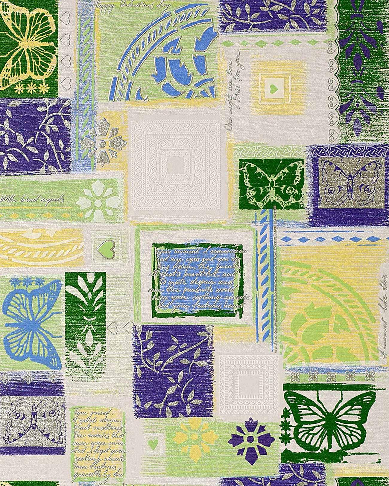 Papier peint design r tro style edem 071 25 scrapbooking for Papier peint blanc argent