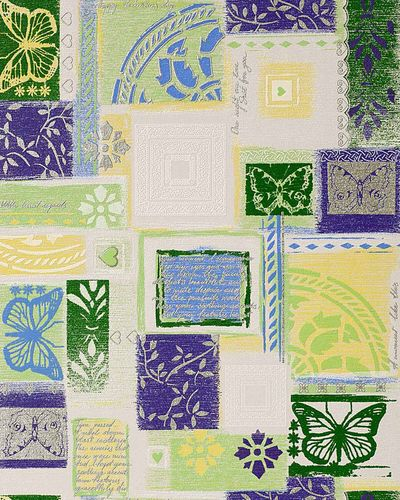 Scrapbooking style wallpaper wall wallcovering EDEM 071-25 butterfly funky collage textured white green lilac  – Bild 1