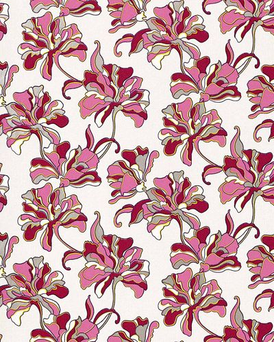 Flowers textured wall covering floral EDEM 072-24 wallpaper vinyl cream pink red-violet white  – Bild 1