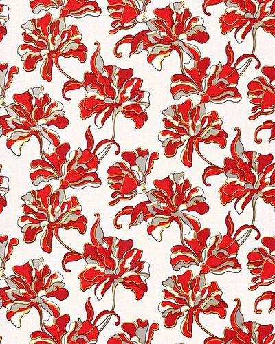 Flowers textured wall covering floral EDEM 072-26 wallpaper vinyl light grey red white yellow  – Bild 1