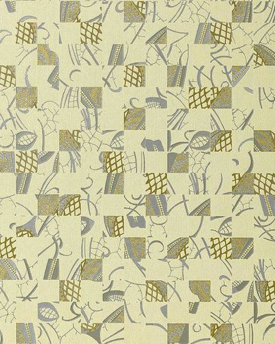 Abstract collage wallcovering EDEM 745-28 mystic art style wallpaper wall embossed quality ivory silver gold  – Bild 1