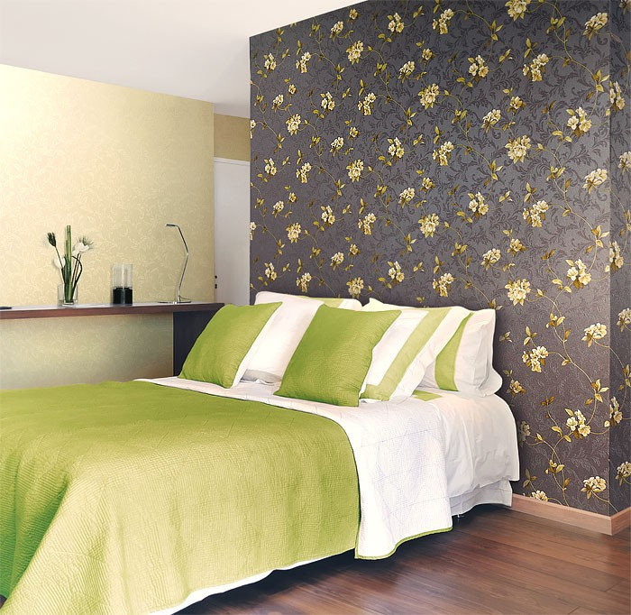 Luxury Embossed Flowers Wall Wallpaper Wallcovering Floral - Green and brown wallpaper