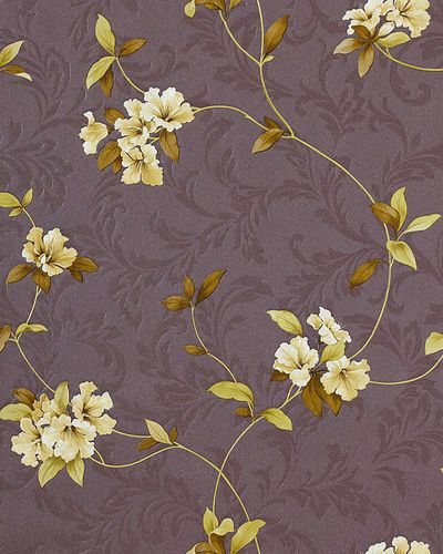 Luxury embossed flowers wall wallpaper 761-26 Wallcovering floral taupe grey-brown green-yellow olive  – Bild 1