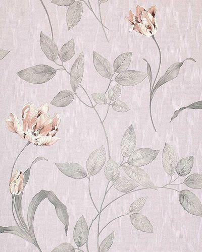 Papel pintado texturado diseño floral EDEM 769-37 con aspecto textil morado pastel rosa pálido lila glitter – Imagen 1