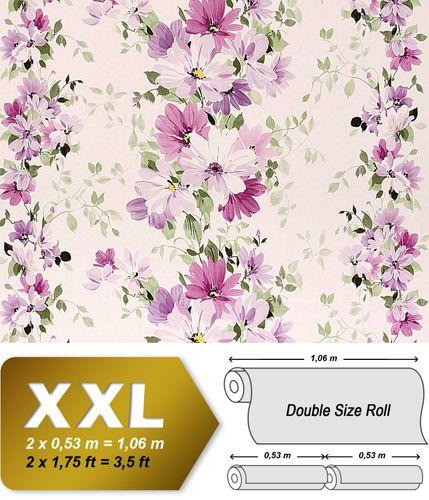 Vliesbehang XXL EDEM 907-05 bloemen behang met textiel structuur wit violet licht roze paars groen l 10,65 qm – Bild 1