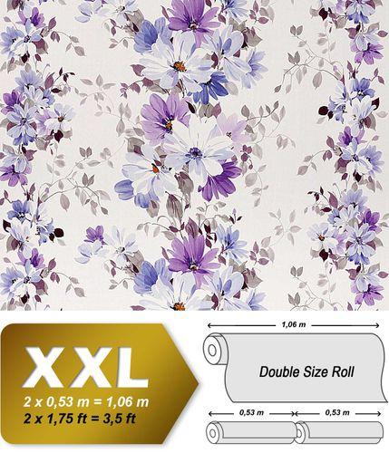 Carta da parati non tessuto floreale con rilievo EDEM 907-09 effetto di tessuto in bianco violetto blu lavanda 10,65 mq – Bild 1