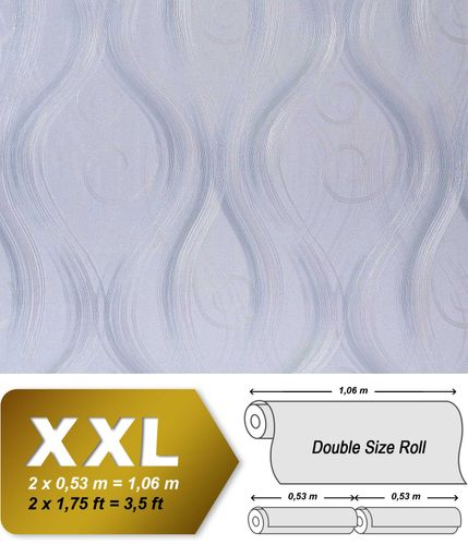 Curved lines wallcovering non-woven EDEM 954-27 Wallpaper wall luxury embossed stripes decor light pastel lilac  – Bild 1