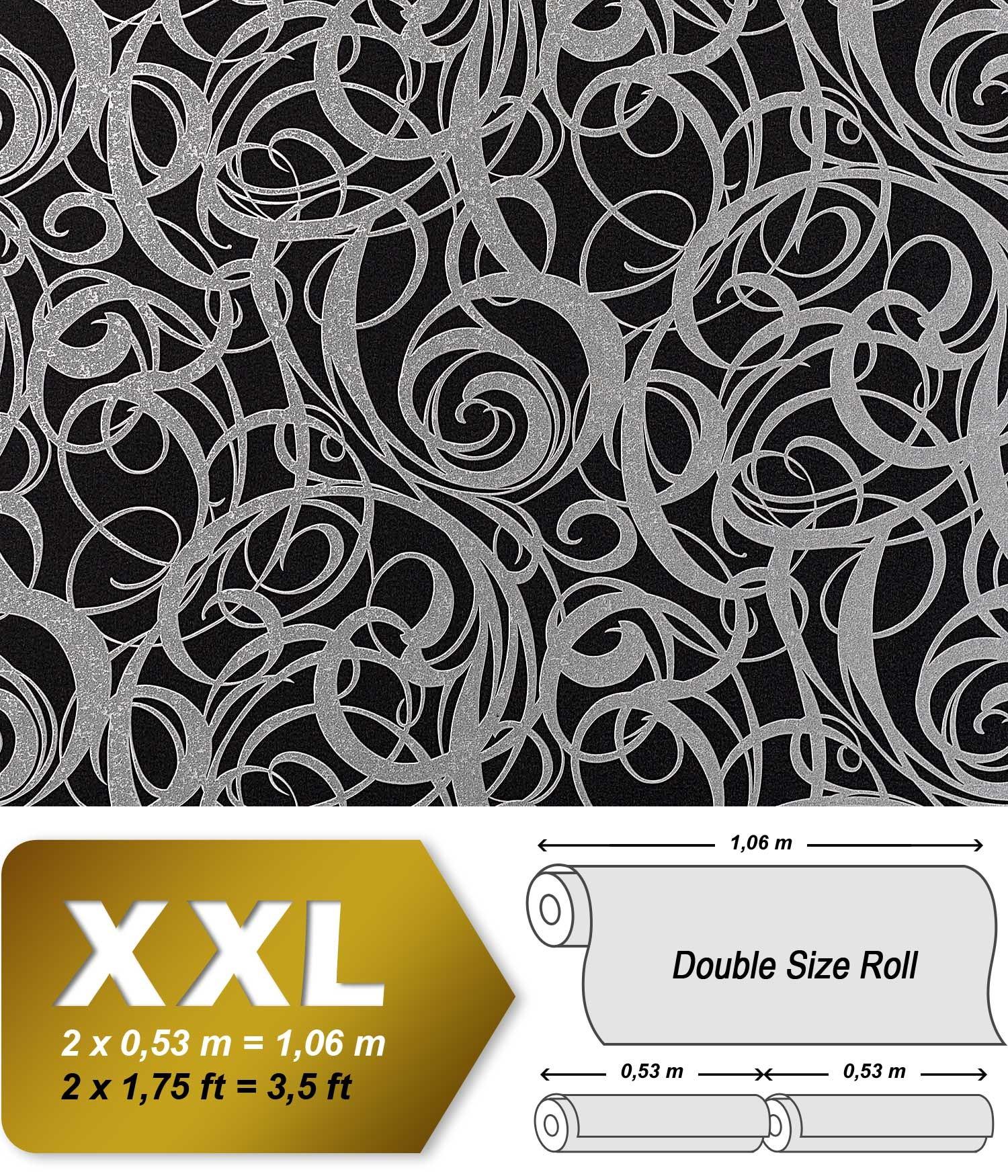 3d vliestapete grafiktapete xxl edem 971 39 design for Black and silver 3d wallpaper
