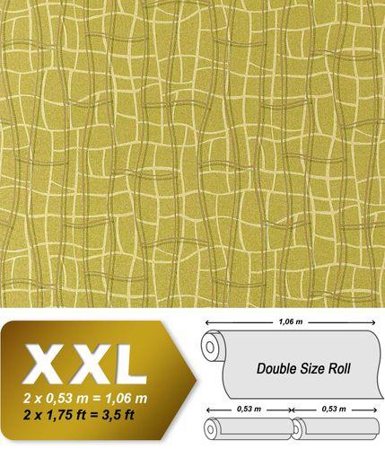 Grafik Tapete Vliestapete EDEM 972-38 XXL Objekttapete abstrakte 3D Netzstruktur Linien grün olive gold 10,65 qm – Bild 1