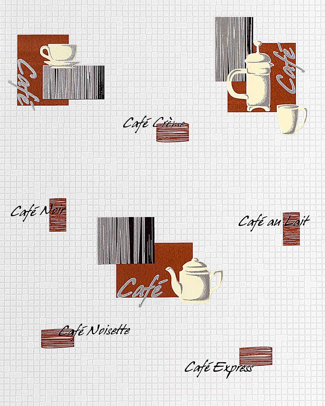 Carta da parati caff piastrelle mosaico edem 062 20 per for Carta parati lavabile cucina