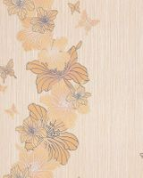 Vinyl floral flowers butterfly wall covering wallpaper EDEM 108-31 pastel yellow beige white