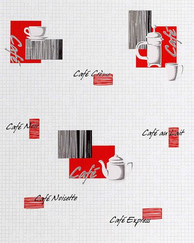 Washable wallpaper wall EDEM 062-24 Wallcovering vinyl coffee mosaic tile decor white creme red  – Bild 1