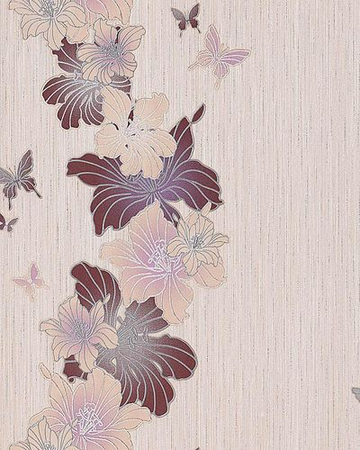 Vinyl floral flowers butterfly wall covering wallpaper EDEM 108-33 beige taupe caramel brown  – Bild 1