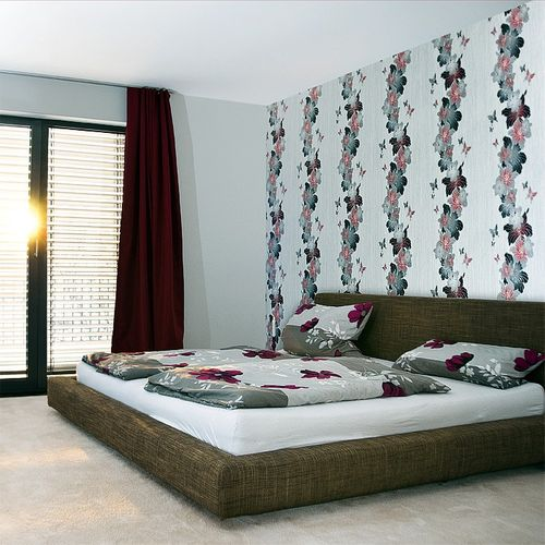 Vinyl floral flowers butterfly wall covering wallpaper EDEM 108-34 white lilac blue-violet  – Bild 2