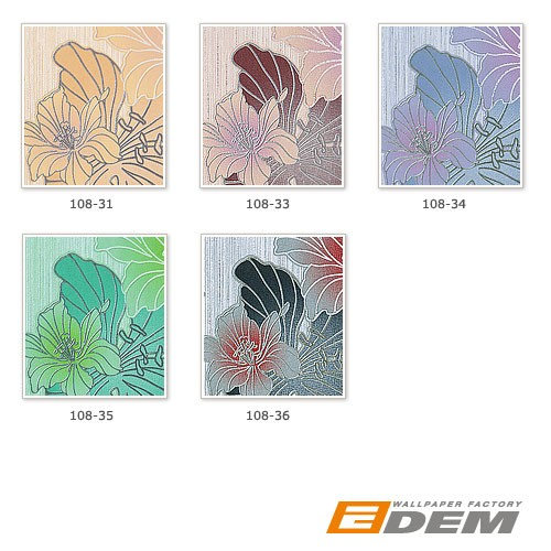 Vinyl floral flowers butterfly wall covering wallpaper EDEM 108-34 white lilac blue-violet  – Bild 3