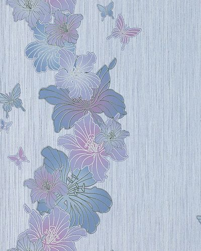 Vinyl floral flowers butterfly wall covering wallpaper EDEM 108-34 white lilac blue-violet  – Bild 1