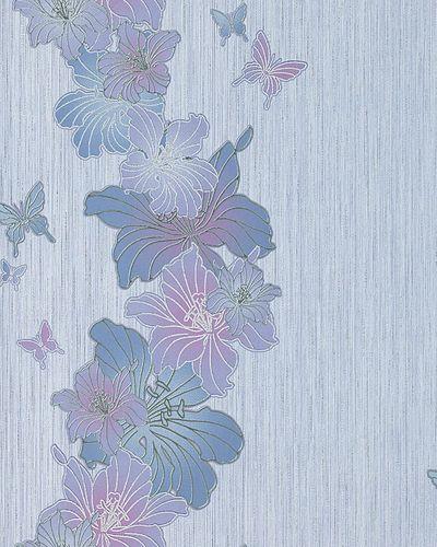 Papel pintado de diseño floral EDEM 108-34 dibujo flores y mariposas lila morado lila claro lila azulado plata – Imagen 1