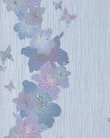 Vinyl floral flowers butterfly wall covering wallpaper EDEM 108-34 white lilac blue-violet