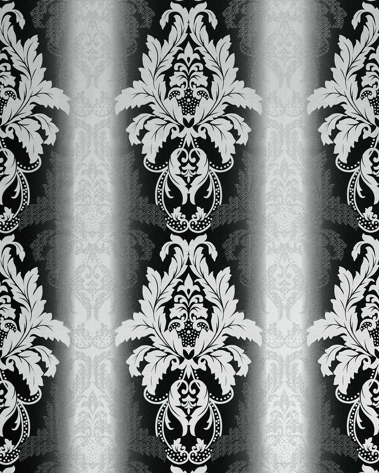 3D Barock Tapete Damask EDEM 770 30 Luxus Tapete Hochwertige 3D Brokat  Struktur Schwarz Weiß Anthrazit Silber