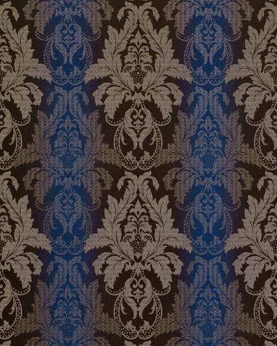Papier peint style baroque EDEM 770-37 damassé avec structure brocade en 3D brun foncé bleu royal argent – Bild 1