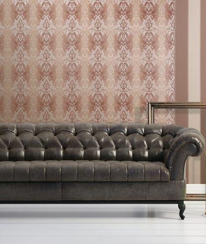 3D Barock-Tapete Damask EDEM 770-37 Luxus Tapete hochwertige Brokat Struktur dunkel-braun royal-blau silber – Bild 2