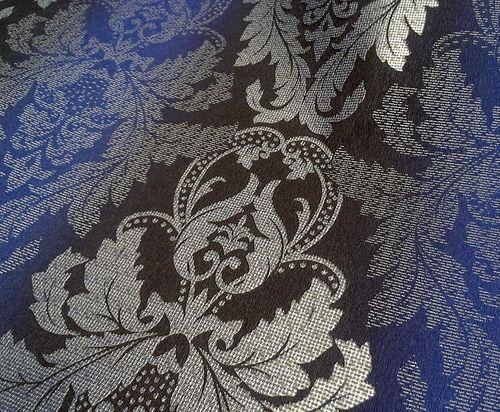 Papier peint style baroque EDEM 770-37 damassé avec structure brocade en 3D brun foncé bleu royal argent – Bild 5