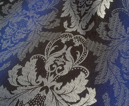 3D Barock-Tapete Damask EDEM 770-37 Luxus Tapete hochwertige Brokat Struktur dunkel-braun royal-blau silber – Bild 5
