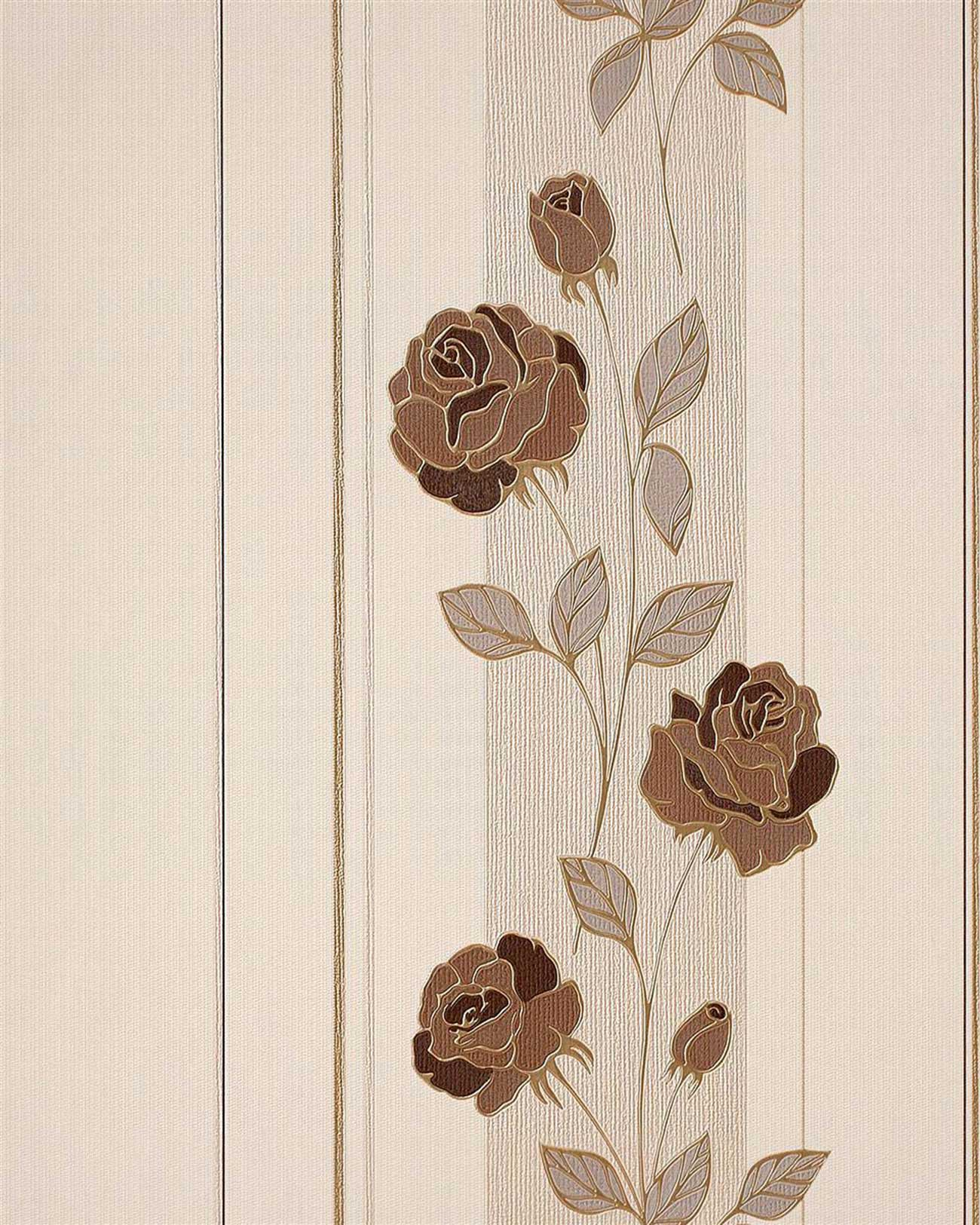 blumen tapete edem 766 36 deluxe floral streifen landhaus blumentapete rosen beige silber braun. Black Bedroom Furniture Sets. Home Design Ideas