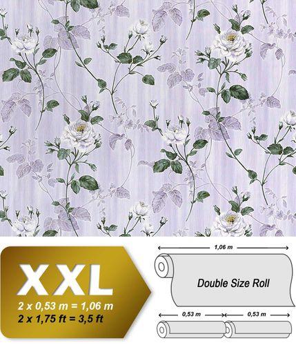 Vliestapete 3D Blumentapete EDEM 975-34 XXL Floral Rosen Tapete Vintage-Muster Barock hell-lila weiß grau-grün 10,65 qm – Bild 1